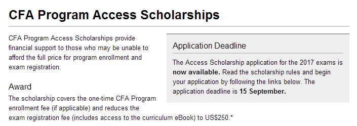Access,cfa奖学金,励志奖学金