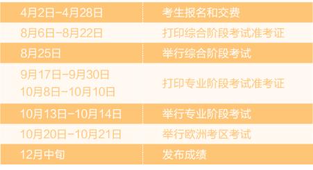 2018年注册会计师考试时间表