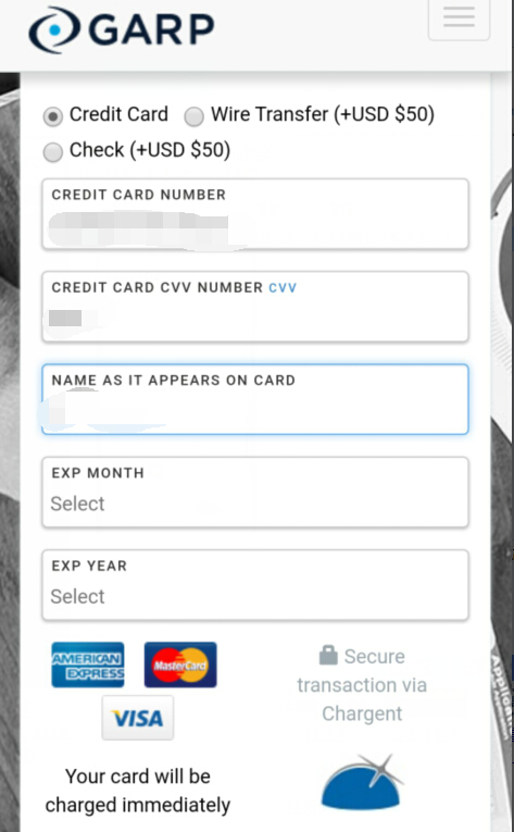 FRM考试信用卡缴费