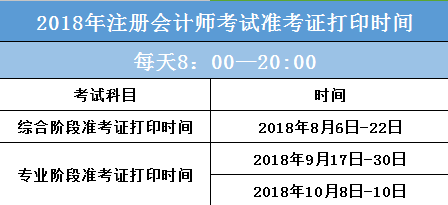 安徽注册会计师准考证打印时间