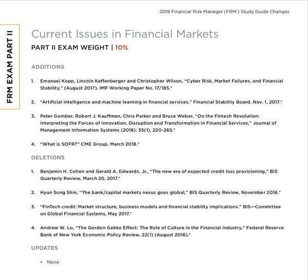 FRM二级考纲变化