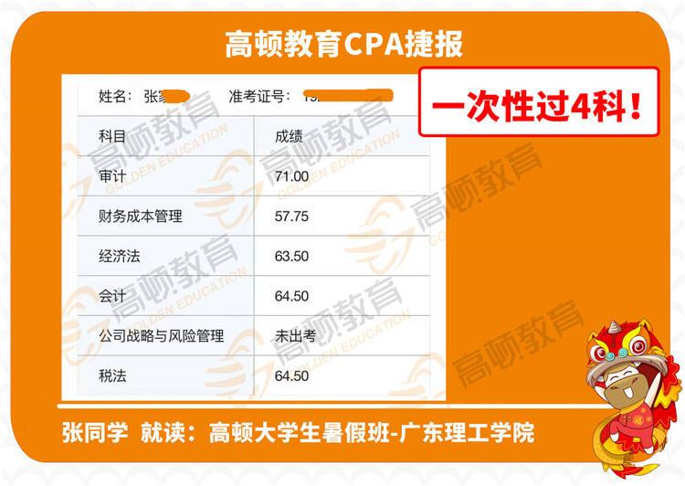 张同学-高顿暑假班-广东理工学院-首次通关4科!